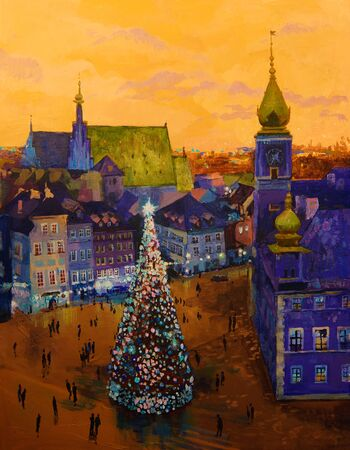 Beautiful winter urban landscape old csquare and walking people . Europe. Oil painting on canvas. Imagens