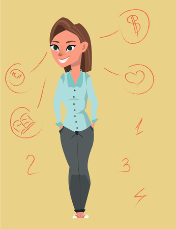 Girl thinking how to balance her life and resources - finance, social, relationship and studies. Çizim