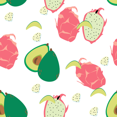 Seamless background. exotic fruit pattern on a white background. avocado and dragon fruit. Stock Illustratie