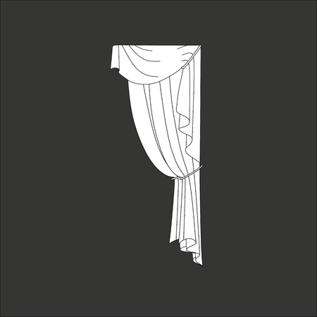 red stage curtain: sketch design curtains windows. Illustration