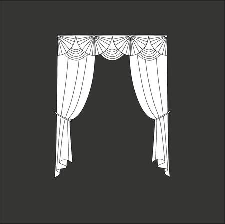 Diseño Bosquejo Cortinas Ventanas. Ilustraciones Vectoriales, Clip ...