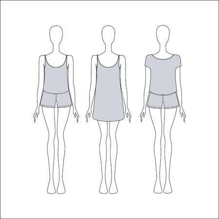 nightwear: womens clothing from the jersey. Pyjamas for women. Sleepwear female. Illustration