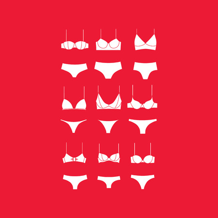 white panties: underwear for women. panties. bra. set of clothes. Illustration
