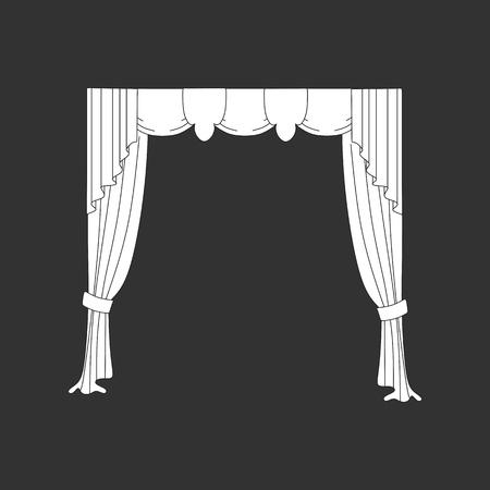 decoration window curtains sketch Illustration