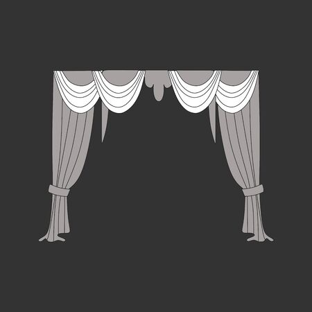 window curtains: decoration window curtains sketch Illustration