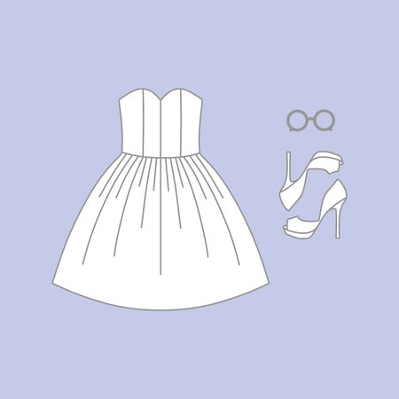womens: Set of womens dress clothes, shoes, sunglasses Illustration