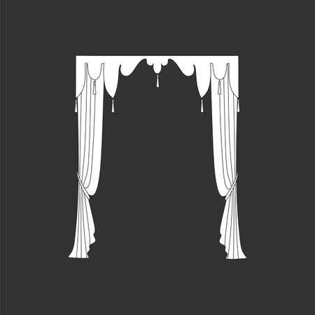 window curtains: decoration window curtains sketch Illustration
