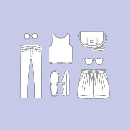 handbags: a set of womens clothing jeans, handbags, shoes, shorts, pants, sunglasses