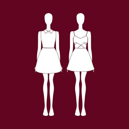 evening dress: Womens dress. Evening dress. Holiday clothes Illustration