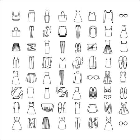 Women's kleding en accessoires. Netwerk met kleding en accessoires