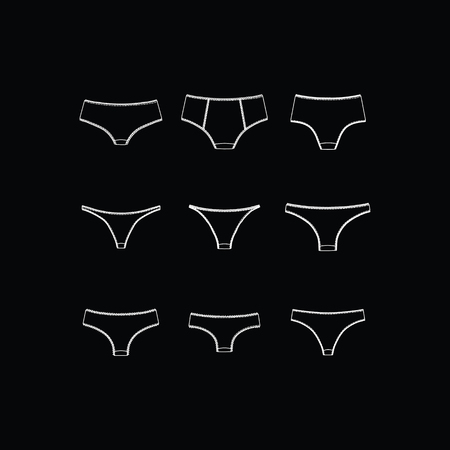 knickers: Womens panties. Lingerie. tanga. Thong. briefs Illustration