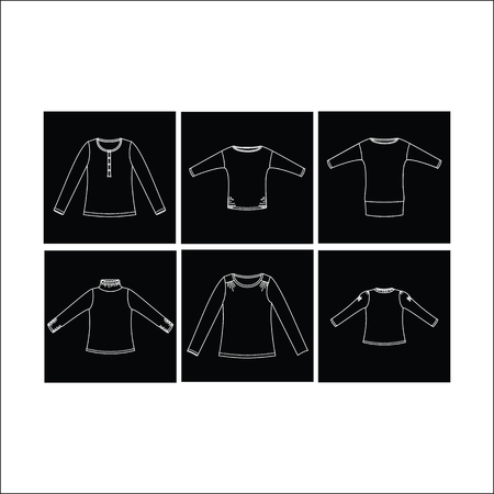 blusa: camisa de las mujeres. Ropa de mujer. Para mujer de la blusa. Vectores