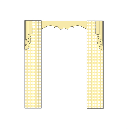 theatrical performance: sketch design curtains windows. Illustration