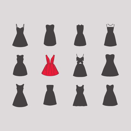 Suknia wieczorowa dla dziewczynek. kobieca sukienka. Ilustracje wektorowe