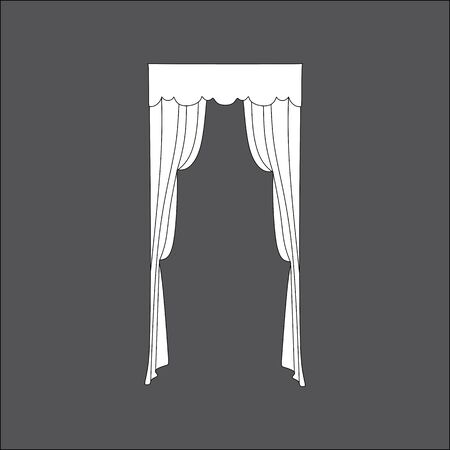 interior window: interior decoration. sketch design window curtains
