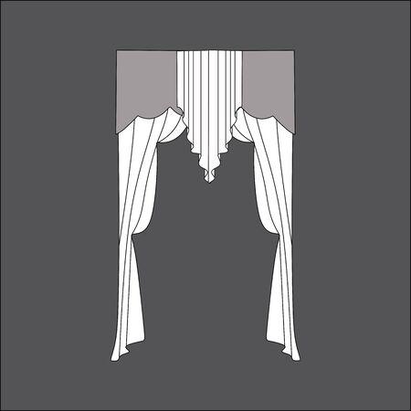 window curtains: sketch design window curtains. interior decoration
