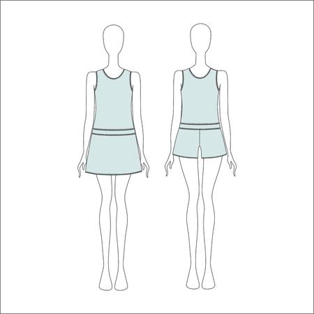 shorts: Pyjamas for women. shirt for girls night. top. shorts Illustration