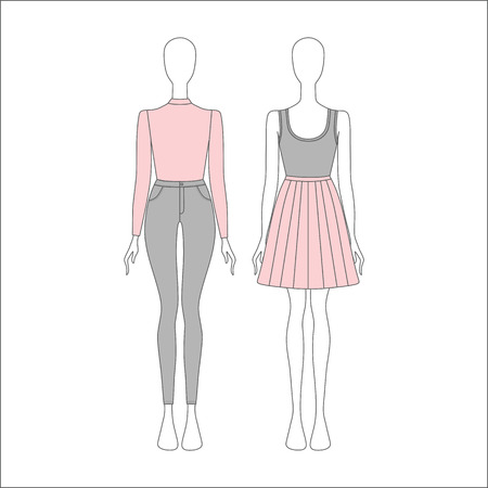 casual wear: set womens casual wear. jeans. pullover. top. skirt.