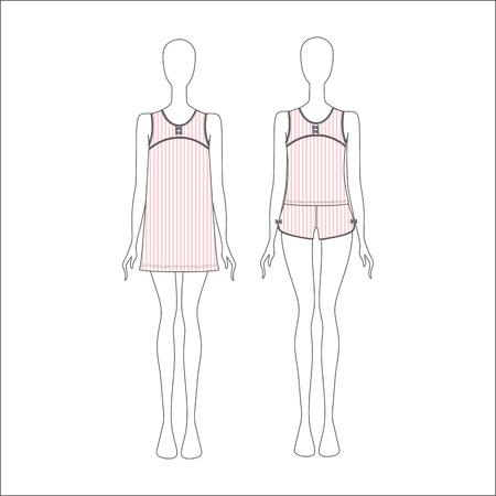 pyjamas: Pyjamas for women. shirt for girls night. top. shorts Illustration