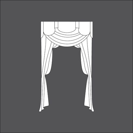 interior window: sketch design window curtains. interior decoration