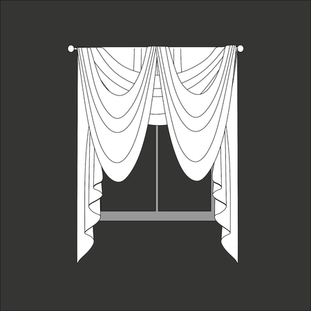 drapery: sketch design curtains windows. Illustration