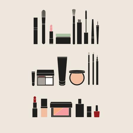 rouge: powder. rouge. nail polish. mascara. eyeliner. shadow. Eyeliner. makeup brushes. face cream. Foundation. concealer.