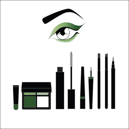 eye makeup: eye makeup. Mascara. eyeliner. shadow. Eyeliner. makeup brushes Illustration