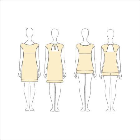 pyjamas: shirt for girls night. top. shorts.  Pyjamas for women. Illustration
