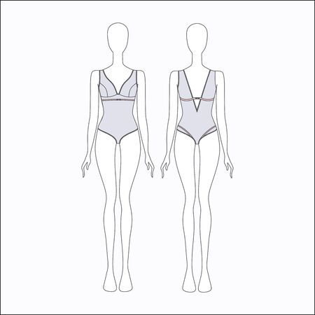 swimming suit: female body. womens swimming suit. Lingerie.