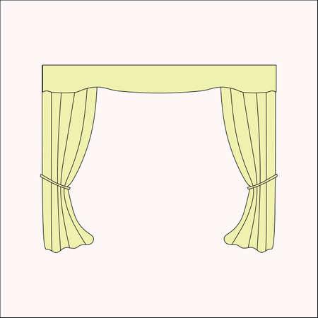 interior design: interior decoration. curtains. curtains Interior design sketch. Illustration