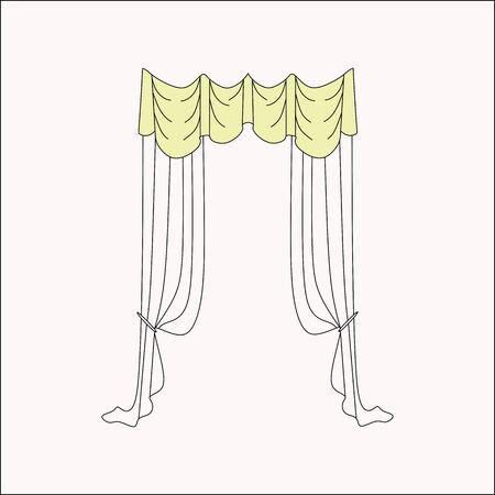 Vorhänge Interior Design-Skizze. Innenausstattung. Vorhänge.