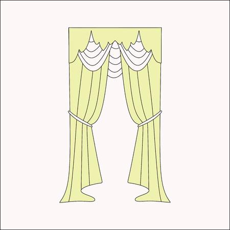 interior design: curtains Interior design sketch. interior decoration. curtains.