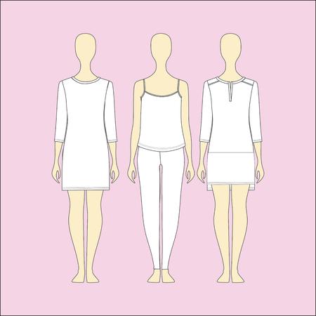 nightwear: Pyjamas for women. Pajamas for girls. pajamas jersey. pajamas render vector. nightie. top. trousers. shirt.
