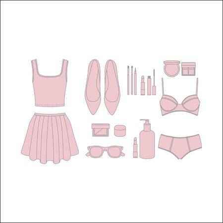 pomade: a set of clothes and cosmetics. skirt. top. underwear for women. shoes. a bag. makeup brushes. pomade. mascara. face powder. eye shadow. body cream. sunglasses