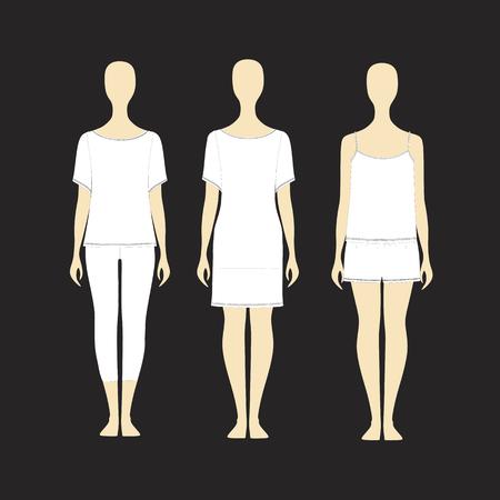 Pyjamas for women. Pajamas for girls. pajamas jersey. pajamas render vector. nightie. top. trousers. shirt.