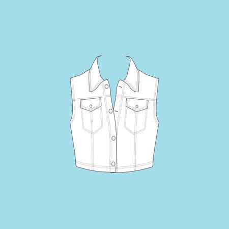casual wear: vest. denim vest. casual wear. Illustration