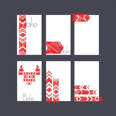 ethnics: set of cards. grunge. stylized. ethnics. Illustration