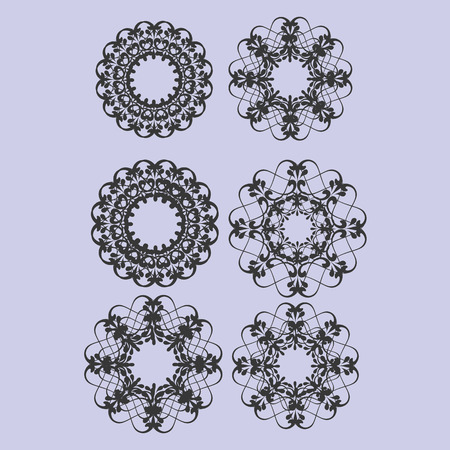 various: Various round floral ornaments illustration