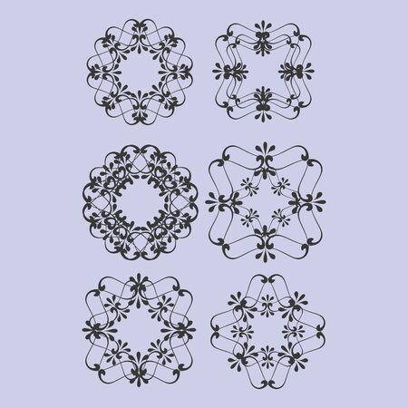 ornaments floral: Various round floral ornaments illustration