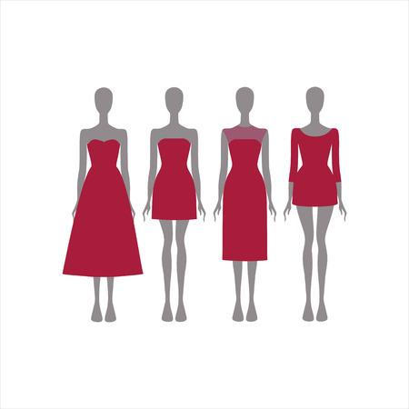 attire: Evening Dress. festive attire Illustration