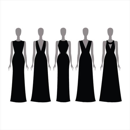 attire: evening long dress. Black festive attire