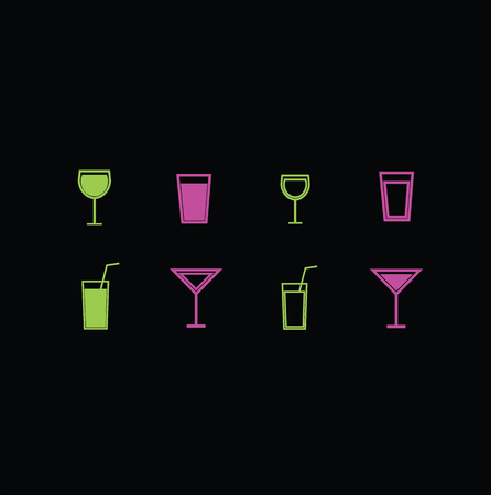 mug shot: set of vector icons of wine glasses and glasses for drinks. Illustration