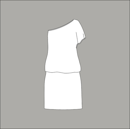 summer dress: female summer dress. dress made of jersey. Illustration