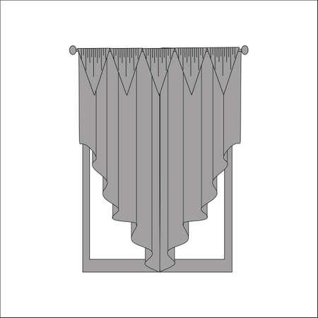 window curtains: curtains. interior textiles. window decoration. Illustration