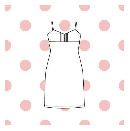 nightie: Sundress, Evening dress, combination or nightie, the silhouette.  nightgown female Illustration