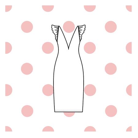 nightie: Womens nightie. home jersey dress. Illustration