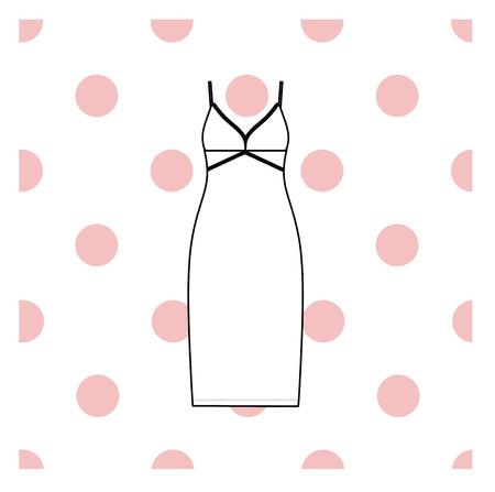 Womens nightie. home jersey dress. Ilustração