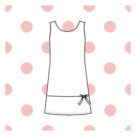nightwear: Womens nightie. home jersey dress. Illustration
