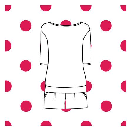 Vector illustration of womens sleepwear.