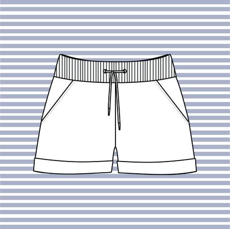 shorts: shorts female short-drawn vector